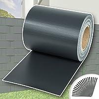 TecTake Rollo aislamiento aislante PVC 19 cm de alto + clips de sujeción - varios modelos - (70m | antracita | no. 401874)