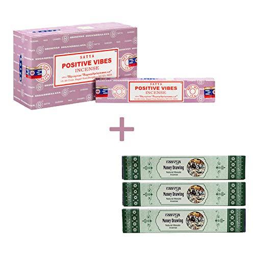 Satya - bastoncini di incenso, aroma: naavya natural masala, confezione da 12, confezione da 15 positive vibes