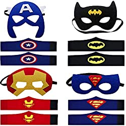 4 Kit Máscaras de Superhéroe Pulseras de Superhéroe Suministros de Fiesta de Superhéroes Máscaras de Cosplay de Superhéroe Máscaras de Media Fiesta para Niños o Niños Mayores de 3 Años