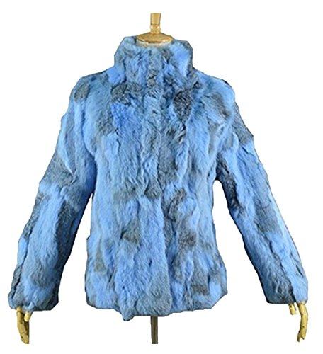 YR Lover Damen Echter Kanichen Pelz Mantel Jacket & Stand Kragen Himmel Blau