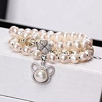 OMZBM Natürliche Frischwasserperlen-Armband-Multi Kreis 925 Sterlingsilber-Glück-Klee-Hängende Halsketten-Doppelnutzung Für Frauen-Schmucksachen 8.1 * 6.53Mm