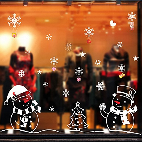 n Aufkleber, Weihnachten Schneemann Dekoration Aufkleber für Vitrine Fensterdeko Set Selbstklebend Abnehmbare PVC Winter Dekoration Über 50 * 70cm (Multicolor) ()