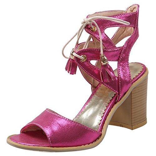 COOLCEPT Damen Mode Schnurung Sandalen Open Toe Blockabsatz Slingback  Schuhe Rose Rot