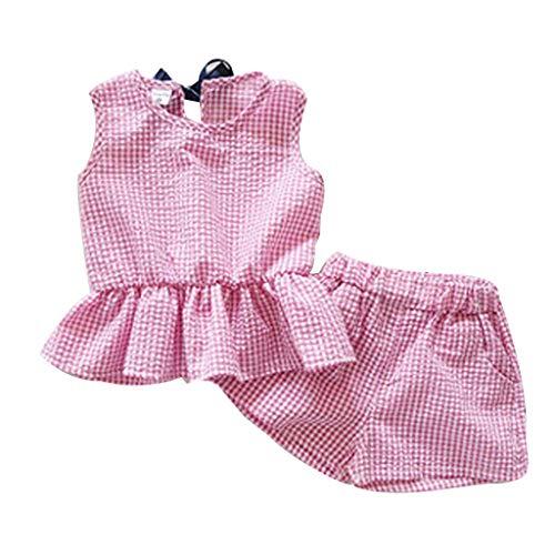 (IZHH MäDchen Weste Top Kinder Plaid SleevelessShorts Set Kleinkind Baby MäDchen Outfits Kleidung Plaid Weste T-Shirt + Shorts Set 2T-7T(Pink,13))