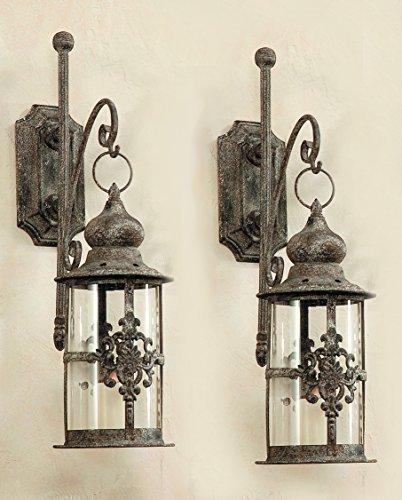 2x Laternen im Antik - Stil / Ornament + Wandhalterung Wandlaterne Windlicht 2er Set