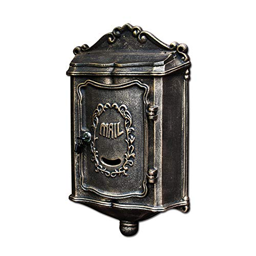 Royala Cast Aluminium Mailbox, Locking Wandhalterung Briefkasten, Große Wasserdichte Postbox, Für Outdoor Garten Bronze