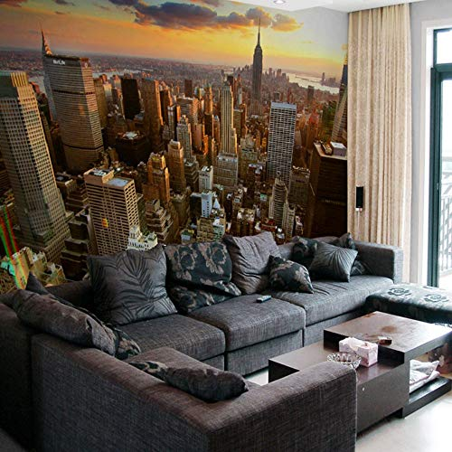 Tapeten,New York City Unter Sonnenuntergang Gebäude Serie Eigene 4D Wallpaper Wanddekoration Hd Drucken Kunstdruck Wandmalerei Für Wohnzimmer Tv-Kulisse Schlafzimmer Hotel Einrichtung Große Wandgem