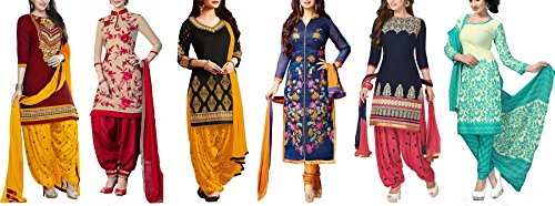 Super Deal Women\'s Printed Unstitched Regular Wear Salwar Suit Dress Material (Combo pack of 6)(SuperDeal_Combo_7095)(SuperDeal_3059_Red)(SuperDeal_3046_Red)(SuperDeal_3055_Black)(SuperDeal_3054_Blue