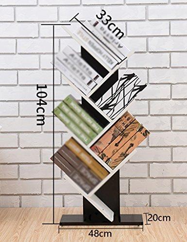 WSSF- Bibliothèque en forme d'arbre Simple Présentoir Plancher-debout Salon Chambre De Stockage Finition Casiers En Bois Multicouche Créative Enfants Petites Étagères, Couleur En Option, 48 * 20 * 104cm
