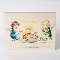 """Cuadro Infantil Angelitos con niño Jesús y oración""""Angel de la guarda…"""" 30x40cm. Ilustración de Juan Ferrándiz impresa en lienzo. Serie limitada y numerada. Regalo Bautizo"""
