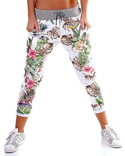 Italy - Chino Long Sweatshirt Jogginghose Jungle - Size 38 - White-Brown - 5-Pocket Freizeithose -