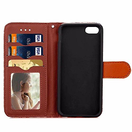 iPhone Case Cover IPhone 6 cas abstrait motif de fleur TPU PU Housse en cuir rétro Folio Flip cas de support de portefeuille avec cadre photo de carte pour IPhone 6 ( Color : Rose , Size : IPhone 6S P Brown