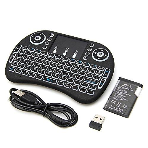 JunYe 2.4G Mini Backlit Wireless Touchpad Tastatur Air Mouse für Stück Pad Android TV Box