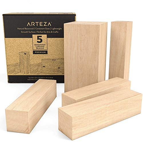 Arteza Juego 5 piezas madera tallar | 4 piezas 10,2