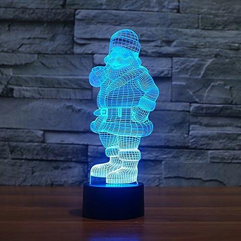 Illusione 3d lampada luce notturna jawell Babbo Natale 7Cambiare colore Touch USB tavolo regalo giocattoli decorazioni - Camera Pull String