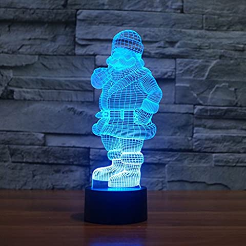 3D Illusion Lamp Jawell Night Light Santa Claus 7 Changing Colors Touch USB Table Nice Gift Toys