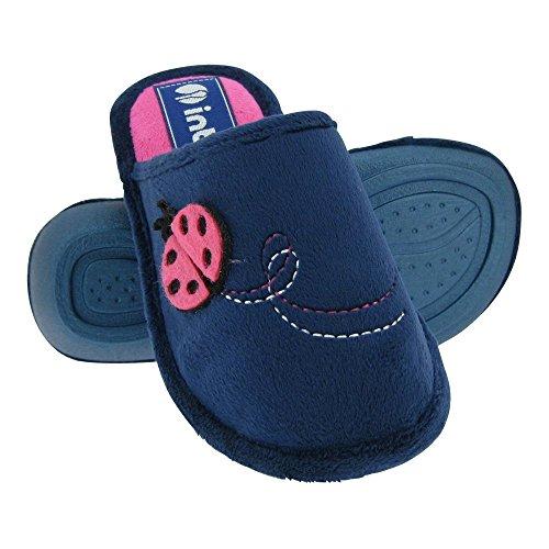 GALLUX - Hausschuhe Pantoffeln Kinder flache Kinderschuhe Dunkelblau/Pink