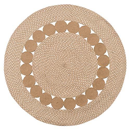 Alfombra Redonda con diseño de círculos Naturales y Blancos de India
