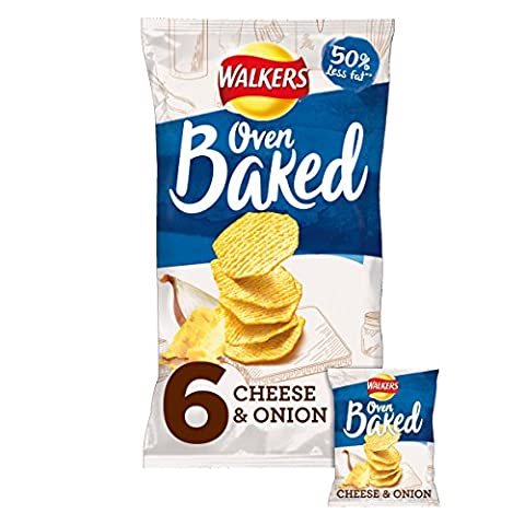 Walkers Baked Cheese & Onion Flavour Potato Snacks, 25g (6 Pack)