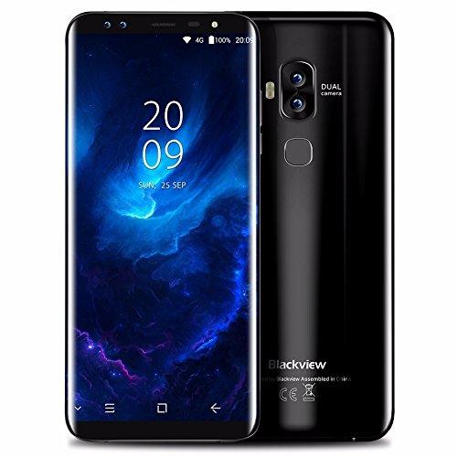 Prepaid Wireless Cell Phone (Blackview S8 Four Cameras 18:9 Smartphone 4G RAM 64G ROM 5.7 Inch MT6750T Octa Core 1440*720 4G LTE Fingerprint OTG Mobile Phone(Black))