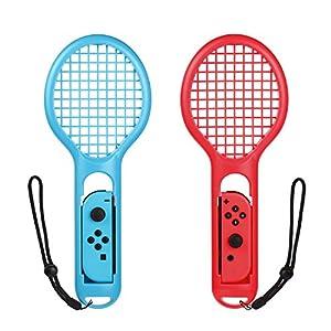 Bestico Tennisschläger für Nintendo Switch Joy-Con Controllers, 2 Stück Tennis Racket für Mario Tennis Aces,ARMS and Motion Sensing Spiele
