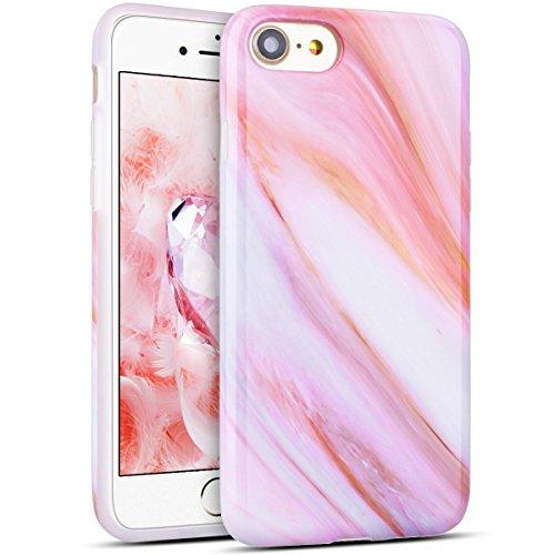 Custodia iPhone 7, RosyHeart Modello Marmo Candy Silicone TPU Morbido Cover per iPhone 7 (4.7 pollici) Elegant Ultra Sottile Copertura Opaco Leggero Gel Bumper Antiurto AntiGraffio Gomma Protettiva Ce Rosa