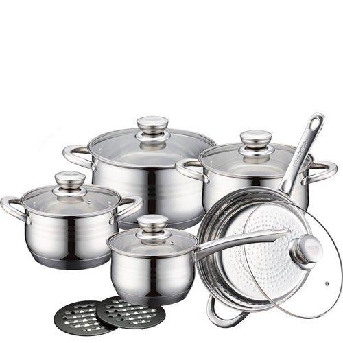 Set batteria royalty line switzerland 12 pezzi con coperchio, batteria di pentole e padelle in acciaio inox ideale per cucinare fantastici piatti in cucina