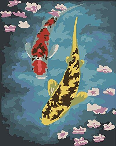 Preisvergleich Produktbild OBELLA Malen nach Zahlen Kits || Carp Cherry Blossoms Fisch Kirschblüten 50 x 40 cm || Malen nach Zahlen, DIGITAL Ölgemälde (Mit Rahmen)