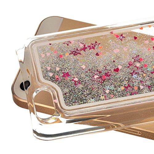 iPhone 5C à paillettes Bling cas, iPhone 5C Étui en forme de cœur étoiles Quicksand, newstars Design Creative 3D Fluide flottant Sparkle Liquide en Plastique Transparent dos transparent coque rigide Heart Shape Silver
