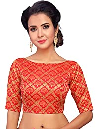 STUDIO Shringaar Women's Benaras Brocade Saree Blouse With Boat Neck -Jhumka Design