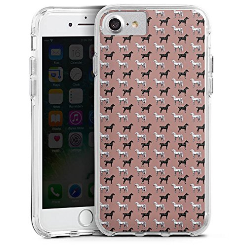 Apple iPhone 7 Bumper Hülle Bumper Case Glitzer Hülle Pferd Horse Vintage Bumper Case transparent