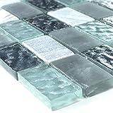 Marmor Glas Naturstein Mosaik Fliesen Grau Türkis