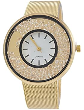 Souarts Damen Vergoldet Farbe Treibsand Armbanduhr Quartzuhr Sommer Uhr Quartzuhr Analog mit Batterie