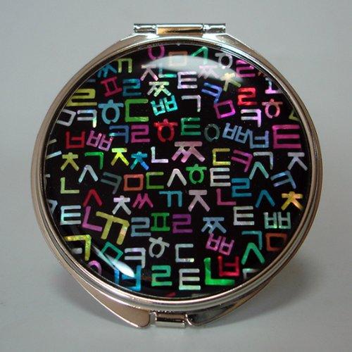 Miroir Compact en nacre Miroir à main pour maquillage pour maquillage ou cosmétiques miroir de sac ou sac avec motif caractères Alphabet Coréen
