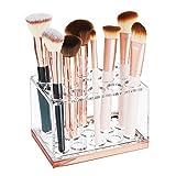 mDesign Rangement Maquillage Pratique – boîte à Maquillage déco pour Mascara et Rouge à lèvres – présentoir Make up à 15 Compartiments – Transparent et Couleur Or Rouge