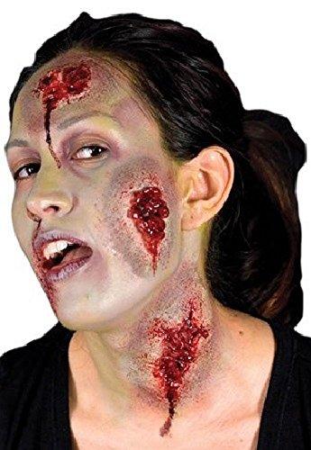 Damen Herren Halloween Blutige Zombie Spezialeffekte Latex Make-up Kostüm Kleid Outfit Kit - Nässendem Wunden, One Size, Einheitsgröße