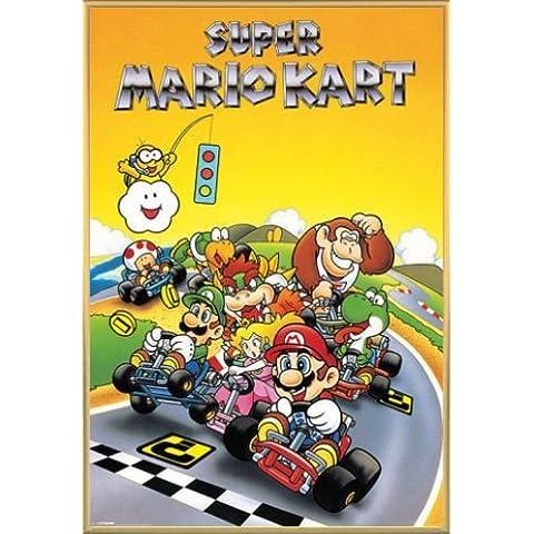 Super Mario Póster con Marco (Plástico) - Kart, Retro (91 x 61cm)
