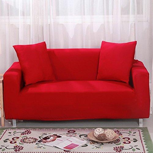 Funda protectora para sofá de 2 plazas, elástica, 7 colores lisos