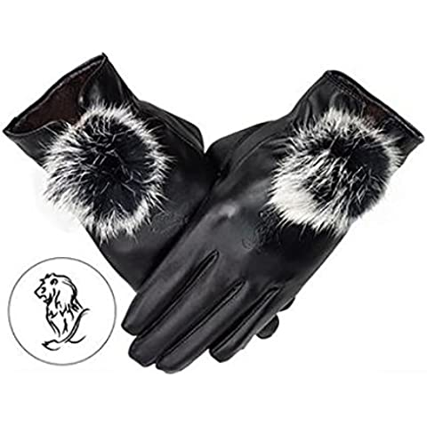 LHdt L'autunno e l'inverno di calore Constellation Ladies modello Leather Gloves studenti Aggiungere schermo di tocco cashmere ( colore : 7