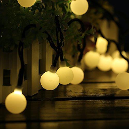 ❤ Consta de 60 bolas LED, 10 m de cable flexible. Sin cableado para una fácil instalación. ❤ La guirnalda añade un ambiente romántico gracias a su magnífico efecto de iluminación, luz suave y romántico. ❤ decoración perfecta para jardín, cerca, terra...