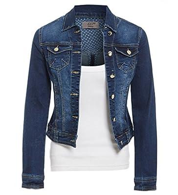 SS7 Womens Stretch Denim Button Detail Ladies Jacket Indigo Jean Jackets Blue Sizes 8-18