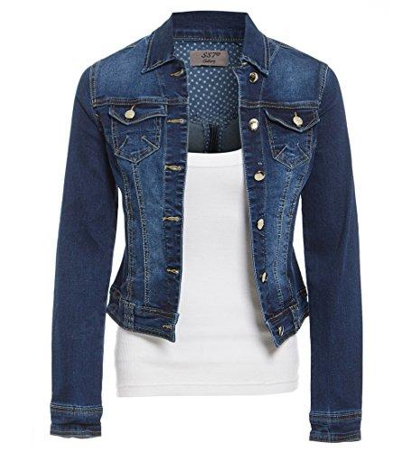 SS7 Womens Indigo Denim Jacket Ladies Stretch Jean Jackets Size 8 10 12 14 Dark Blue
