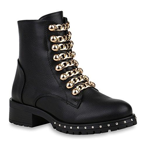 Stiefelparadies Damen Biker Boots Leicht Gefütterte Stiefeletten Nieten Ketten 153105 Schwarz Gold Silber 37 Flandell