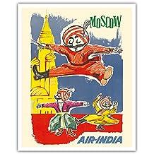 Moskau, Russland - Air India Maskottchen Maharaja - Barynya Russischer Volkstanz - Vintage Retro Fluggesellschaft Reise Plakat von J. B. Cowasji c.1960 - Kunstdruck - 41cm x 51cm