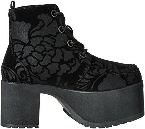 T.U.K. Shoes Women's Black Velvet Burnout 4 Eye Nosebleed Boots Black