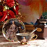 Porcelaine Céramique Peinture À L'Huile Figure Tasse De Thé Café, Brun Et Bleu