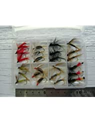 D200. 24tema Pack de trucha vuela + Free Box, color mezclado selección ATA en Approx # 6ganchos, caja para moscas de pesca es de buena calidad y aprox. 110mm x 75mm en tamaño para encajar perfectamente en tu bolsillo.