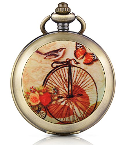 Unendlich U Retro Fahrrad Schmetterling Vogel Foto Medaillon Handaufzug Mechanische Taschenuhr Schwarzes Zifferblatt Skelettuhr Pullover Halskette, beide Ketten