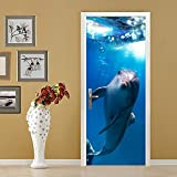 XIAOXINYUAN DIY Dolphin Ocean World 3D Tür Aufkleber PVC Wasserdichte Türen Poster An Der Wand Aufkleber Aufkleber Für Zimmer Schlafzimmer Home Decor