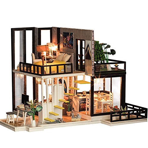 DIY Kleines Haus South Breeze DIY Miniatur Holz Puppenhaus LED Möbel Kit 3D Puzzle Spielzeug Kind DIY Kabine September Wald